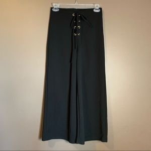 Blue blush black culottes with tie detail